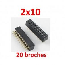 2x10 20 broches 2,54mm femelle connecteur PCB