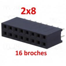 2x8 16 broches 2,54mm femelle connecteur PCB